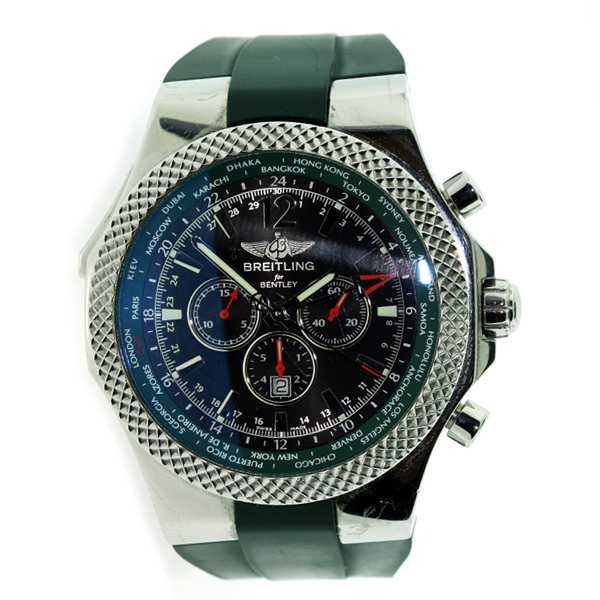 Breitling Stainless Steel Bentley Automatic Wristwatch Ref: BREITLING BENTLEY MENS GMT WATCH GREEN RUBBER BAND